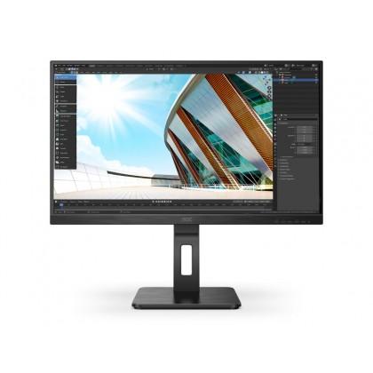 """27.0"""" AOC IPS LED Q27P2Q QHD Display Black (4ms, 1000:1, 250cd, 2560 x 1440, 178°/178°, VGA, HDMI, DisplayPort, Speakers 2 x 2W, Audio Line-out, USB Hub: 4 x USB3.0, Height Adjustment, Pivot, VESA)"""