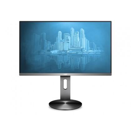 """23.8"""" AOC IPS LED I2490PXQU/BT Black/Silver (4ms, 100M:1, 250cd, 1920x1080, 178°/178°, VGA, HDMI, DisplayPort, Speakers 2 x 2W, USB Hub: 4 x USB3.0, Audio Line-out, Height Adjustment, VESA)"""