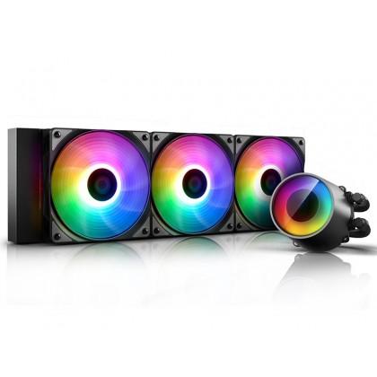"""DEEPCOOL Liquid Cooler """"CASTLE 360RGB V2"""", LGA2066/2011-v3/2011/LGA1200/1151/1150&TRX4/TR4/AM4/AM3+/AM3/AM2+/AM2/FM2+/FM2/FM1, 3x TF120 fan, RGB , fans: 500~1800rpm, pump: 2550rpm, 4-pin PWM"""