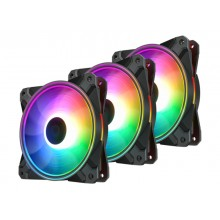"120mm Case Fan - DEEPCOOL ""CF120 PLUS""  3x  A-RGB LED 120x120x26.5mm, 500-1800rpm, <28dBa, 52.5 CFM, Hydro Bearing, 4Pin, PWM, 12V RGB 4-pin port"