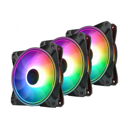"120mm Case Fan - DEEPCOOL ""CF120 PLUS""  3x  A-RGB LED 120x120x26.5mm, 500-1800rpm, <28dBa, 52.5 CFM, Hydro Bearing, 4Pin, PWM, 12V RGB 4-pin port"