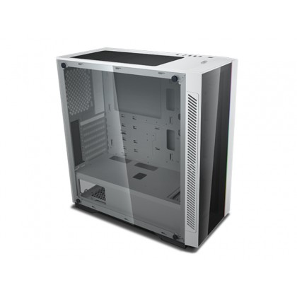 """DEEPCOOL """"MATREXX 55 V3 ADD-RGB WH"""" ATX Case, with Side-Window,  Dual 4mm Tempered Glass Side & Front panel, RGB lighting strip in the front, 1xUSB3.0, 2xUSB2.0 /Audio, 1xRGB Button, White"""