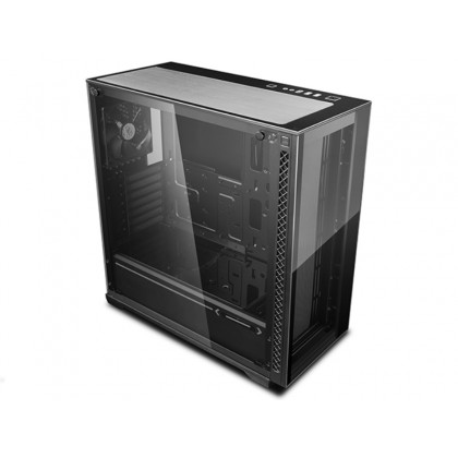 """DEEPCOOL """"MATREXX 70"""" ATX Case, with Side-Window, Tempered Glass Side & Front panel, without PSU, Tool-less, 1x120mm fans pre-installed, 2xUSB3.0, 1xUSB2.0 /Audio, Black"""