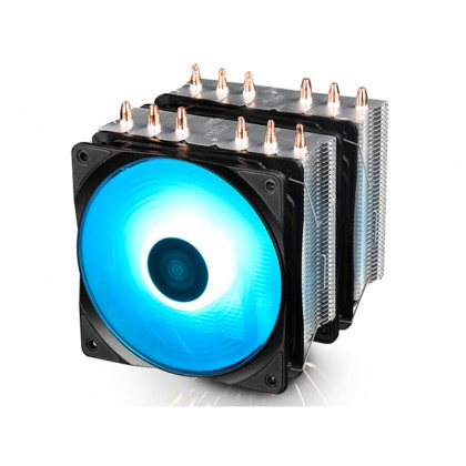 "DEEPCOOL Cooler  ""NEPTWIN RGB"", RGB LED,  Socket 2011/LGA1200/1366/1155/775 & FM2/FM1/AM3+/AM3, up to 130W, 2x fans: 120х120х25mm, PWM; 500~1500rpm, 17.8~21dBA/ 21dBA, 55.5CFM, 4-pin"
