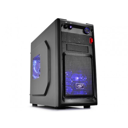 "DEEPCOOL ""SMARTER LED"" Micro-ATX Case,  without PSU, 2 fans pre-installed (2x 120mm Blue LED fan), VGA Compatibility: 320mm, 1x 2.5"" Drive Bays, 1xUSB3.0, 1xUSB2.0 /Audio, Black"