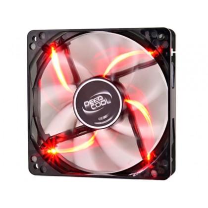 """120mm Case Fan - DEEPCOOL """"WIND BLADE 120 RED"""" Fan with 4 red  LED, 120x120x25mm, 1300rpm, <26dBa, 65.16CFM, Hydro Bearing, Black"""