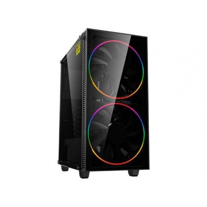 Case ATX GAMEMAX Black Hole, w/o PSU, 2x200mm ARGB fans, PWM hub,Transparent panel, USB3.0, Black