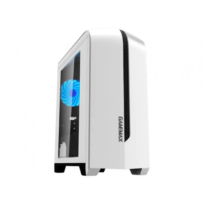 Case mATX GAMEMAX Centauri, w/o PSU, 1x120mm, Blue LED, USB3.0, Side Window, White/Black