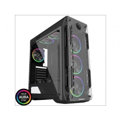 Case ATX GAMEMAX Optical, w/o PSU, 4x120mm ARGB  fans, Fan controller, Transparent, USB3.0, Black