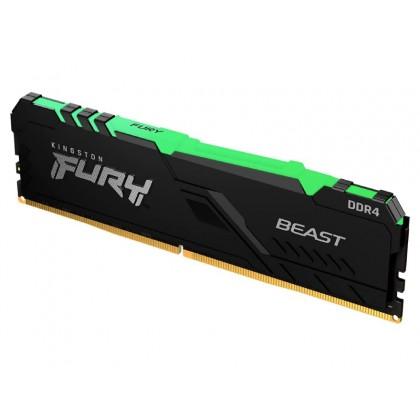 16GB DDR4-3600  Kingston FURY® Beast DDR4 RGB, PC28800, CL18, 1.35V, Auto-overclocking, Asymmetric BLACK low-profile heat spreader, Dynamic RGB effects featuring Kingston FURY Infrared Sync technology