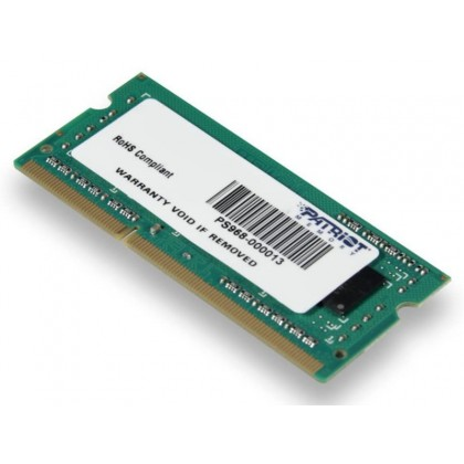 8GB DDR3-1600 SODIMM  Patriot Signature Line, PC12800, CL11, 2 Rank, Double-sided module, 1.5V