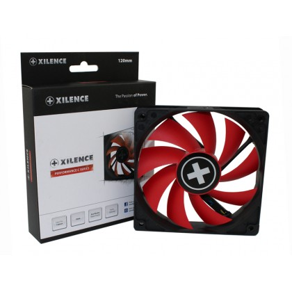 120mm Case Fan - XILENCE XPF120.R.PWM Fan, Performance C, 120x120x25mm, 1500rpm, <21dBa, 57.9CFM, hydro bearing, 4Pin with PWM,  Black/Red